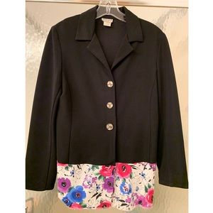 Black blazer with cute floral design on bottom!